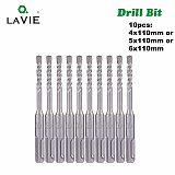 LAVIE 10pc 4 5 5.5 6 6.5mm Electric Hammer SDS Plus Drill Bits Set 110mm Concrete Wall Brick Block Masonry Hole Saw Drilling 014