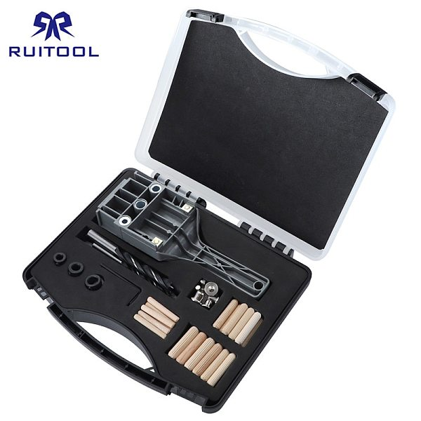Dowel Jig 6 8 10 mm Wood Drill Pocket Hole Jig Kit With Box Thicken ABS Plastic Hand-held Hole Drill Guide For Woodworking