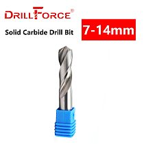 Drillforce 1PC 7mm-14mm Solid Carbide Drill Bit, Uncoated (Bright) Finish, Round Shank, Spiral Flute Twist Drill Bit For Metal
