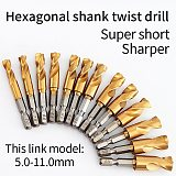 Angle iron plate stainless steel special twist drill bit 1/4 inch hexagon shank Q type ultra short twist drill hole 1.5-13mm