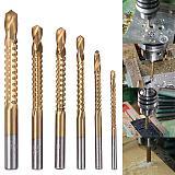 6pcs HSS Drill Bits Hole Saw Grooving Set 3/4/5/6/6.5/8mm Wood Metal Plastic Cutting Slot Sawtooth Woodworking Drill Bit Tool