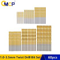 CMCP 60pcs HSS 1/1.5/2/2.5/3/3.5mm Twist Drill Bit Set Titanium Coated Mini Drill Bit For Wood Plastic Soft Metal Gun Drill Bit