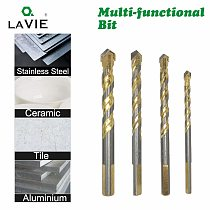 4pcs 6 8 10 12mm Multi-functional Glass Drill Bit Triangle Bits For Ceramic Tile Concrete Brick Metal Stainless Steel Wood 02071