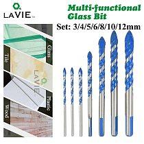 LAVIE 7pcs 3/4/5/6/8/10/12mm Multi-functional Glass Drill Bit Triangle Drill Bits For Ceramic Tile Concrete Glass Marble DB02061