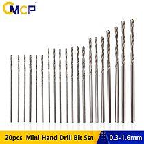 CMCP 20pcs 0.3-1.6mm Mini Hand Drill Bit Set HSS Twist Drill Bit Woodworking Drilling Rotary Tools
