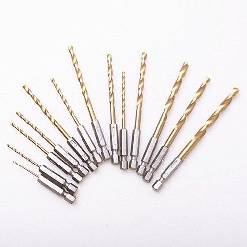 13pcs/set 1.5-6.5mm HSS Titanium Coated Drill Bits High Speed Steel Drill Bit Set 1/4 Hex Shank Power Drilling Tool