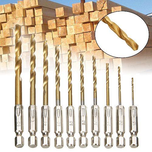 10Pcs HSS Drill Bit HSS titanium Twist Drill Bit Set Cordless Screwdriver HSS-Titan Hexagonal Drill Bit