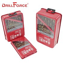 DRILLFORCE 13/19/25PCS HSS M2 Titanium Coated Drill Bit For Metal Woodworking Drilling Bits Set 1.0~13mm Power Tools Accessories