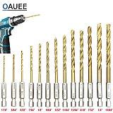 Oauee 13pcs/lot HSS High Speed Steel Titanium Coated Drill Bit Set 1/4 Hex Shank 1.5-6.5mm Twist Drill bit