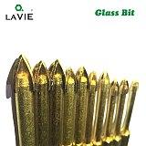 LA VIE 6pcs 1/4  Hex Shank Glass Bits Titanium Coated Glass Drill Set 4 5 6 8 10mm Tile Marble Cross Tipped Hole Saw DB02003