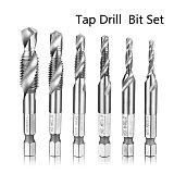 Hand Tools Tap Drill Hex Shank HSS Screw Spiral Point Thread Metric Plug Drill Bits M3 M4 M5 M6 M8 M10