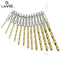 LA VIE 13pcs 1/4 Hex Shank Tungsten Twist Drill Bit HSS Bits Carbide High Speed Steel Titanium Coated Drill Bit Set 1.5-6.5mm 01