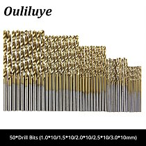50PCS High Speed Steel HSS Electrical Drill Bit Set Straight Shank Cobalt Twist Drilling Wood Metal Drilling Hole Cutter Tool