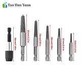 6pcs/set Bolt Remover Screw Extractor HSS Screw Remover Drill Bits with Hex Shank and Spanner for Broken / Damaged Bolt Stud AA