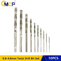 Free Shipping 10pcs Diamond Coated Twist Drill Bit Set 0.8mm-4.0mm Drill Bit For Glass Tile Stone Tipped Hole Drill Bit