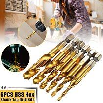 6pcs Metric Thread M3-M10 Titanium Coated HSS Drill and Tap Bits 1/4  Hex Shank Bits Set Screw Taps Tool Set
