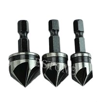 3pc 12mm 16mm 19mm Countersink Bore Set 1/4  Hex Shank Wood Plastic Chamfer Bit -Y103
