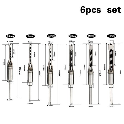 6PCS HSS Square hole woodworking drill bit Twist drill square drill woodworking chisel chisel set extension saw