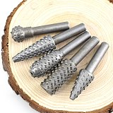 NEWACALOX 5PC 6mm Woodworking Tools Wood Drills Bits Wood Carving Tools Drill Bit Set Micro Cutter Tool Rotary Burr For Dremel