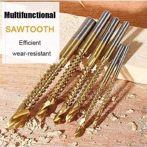 6pcs/Set Drill Adapter High Speed Steel Drill Head For Woodworking Twist Drill Set Thread Spiral Screw Step Drill Bit Set