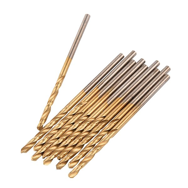 10Pcs 0.8/1/1.5/2mm HSS Titanium Coated Twist Drill Bits Straight Shank Electrical Power Drilling Tools Wood Metal Hole Opener