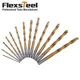 13PCS HSS4241 Titanium Coated Drill Bits High Speed Steel Twist Drill Bit Set Power Tools for Metal,1.5-6.5mm