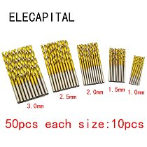 50Pcs/Set Twist Drill Bit Set Saw Set HSS High Steel Titanium Coated Drill Woodworking Wood Tool 1/1.5/2/2.5/3mm For Metal