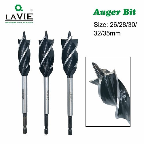 LAVIE 26-35mm Twist Wood Auger Bit Drill Bits Set Fast Cut Carpenter Joiner Tool Drilling Bit For Wood Cut Suit for woodworking