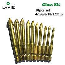 LA VIE 10pcs Glass Bits Titanium Coated 1/4  Hex Shank Glass Drill Bits Set 4 5 6 8 10 12mm Ceramic Marble Cross Tipped Hole 001