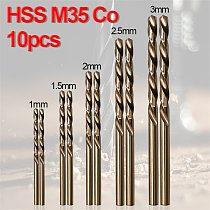 10Pcs HSS-CO-M35 cobalt High Hardness Straight Shank Twist Drill Bits Metal Stainless Steel Special Drill Bit 1/1.5/2/2.5/3mm