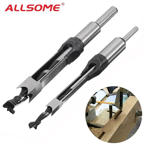 ALLSOME 10mm/16mm Square Hole Saw Auger Drill Bit Mortising Chisel Auger Drill Bit WoodWorking Tool HT1296-1298