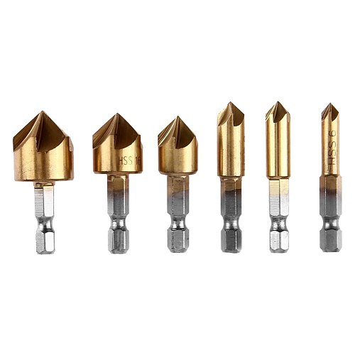6pcs Hex Shank Drill Bits 90 Degree HSS Countersink Chamfering Wood Steel Chamfer Cutter Power Tool Accessories 6-19mm