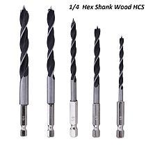 "5pcs 1/4"" Drill Bit Set Hex Shank Wood HCS Woodworking Drill Tools Hexagonal Shank 4/5/6/8/10mm Change Metal Tools Cordless"