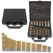 Milda Iron Box packing 99PCS HSS Twist Drill Bits Set 1.5-10mm Titanium Coated Surface 118 Degree For Drilling woodworking