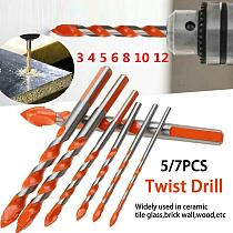 5/7 Pcs Drill Bits Multifunctional Ceramic Wall Drill Bit Set Anti-skid Shank Alloy Hole Opener Tile Glass Brick Wall Wood