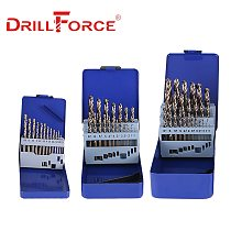 DRILLFORCE 13/19/25PCS HSS M35 Cobalt Drill Bit For Metal Stainless Steel Wood Drilling Bits Set 1~13mm Power Tools Accessories