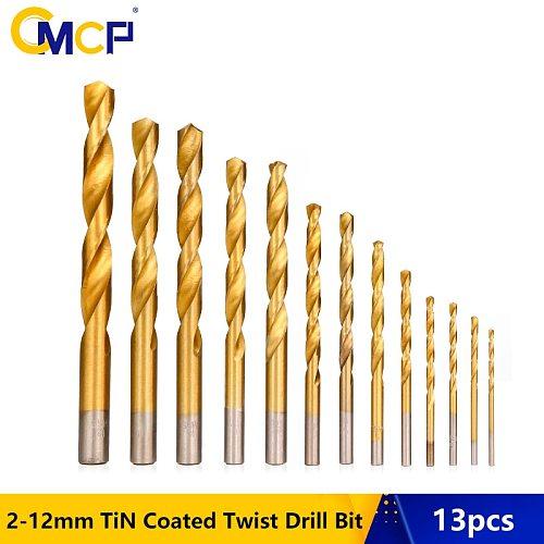 13pcs 2-12mm Titanium Coated HSS Twist Drill Bit Set Round Shank Gun Drill Bit For Wood/Metal Drilling Core Drill Bit