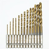 13pcs HSS Titanium Coated Drill Bits High Speed Steel Drill Bit Set 1/4 Hex Shank Power Drilling Tool for Wood 1.5-6.5mm