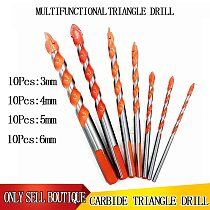 10Pcs 3/4/5/6 Hand Tool Triangular Twist Drill Bit Multifunctional Universal Tile Thread Tungsten Carbide Reaming Wood Drill Set