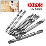 10Pcs HSS Double Ended Drill Bit End Set 3.2/3.5/4/4.2/4.5/5/5.2mm High Speed Steel Mill Drills Bits Wood/ Metal Working Tool