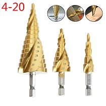 Step Cone Drill Bit 4-20mm 4-12mm Hole Cutter Dint Tool Hex Shank Step Drills shank Coated Metal Drill Bit
