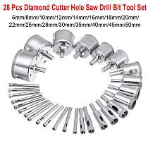 28Pcs Diamond Hole saw Drill Bit Tool 6-50mm Ceramic Porcelain Glass Marble 6/8/10/12/14/16/18/20/22/25/28/30/35/40/45/50mm