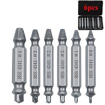 5pcs/6pcs Material Damaged Screw Extractor Drill Bits Guide Set Broken Speed Out Easy out Bolt Stud Stripped Screw Remover Tool