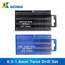 Twist Drill Bit Set 0.3-1.6mm High Speed Steel Mini Drilling Bit 20pcs Kit Hand Drill Bits For Wood Metal Tool Hole Cutter
