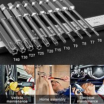 3/7/11PCS 75mm S2 Alloy Steel Torx Screwdriver Bits Tool Set 1/4 Hex Torx Socket Set Handle Tools Electric Screw Driver Set