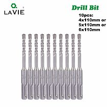 LAVIE 10pc 4 5 5.5 6 6.5mm Electric Hammer SDS Plus Drill Bits Set 110mm Concrete Wall Brick Block Masonry Hole Saw Drilling 14