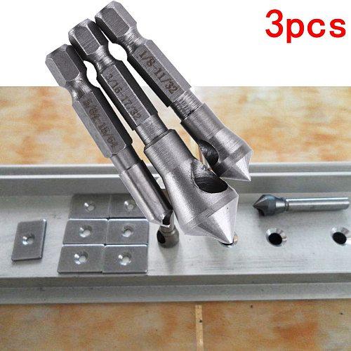 3pcs HSS Countersink Drill Bit Titanium Coated Deburring Tool Bit Wood Trill for Cutting Through Metal Gun Drill Bit Woodworking