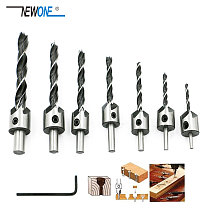 7 pcs/set Wood Countersink Drill Bit Set Boring Counterbore Chamfer Bore Hole Cutter HSS Woodworking Drills Bits 3-10mm