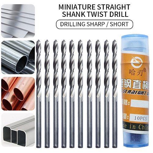 Twist Drill Beads Perforated Straight Shank Mini Drill Twist Drill Bits High Speed Drill Set 10Pcs Twist Drill Bit Spiral Drill