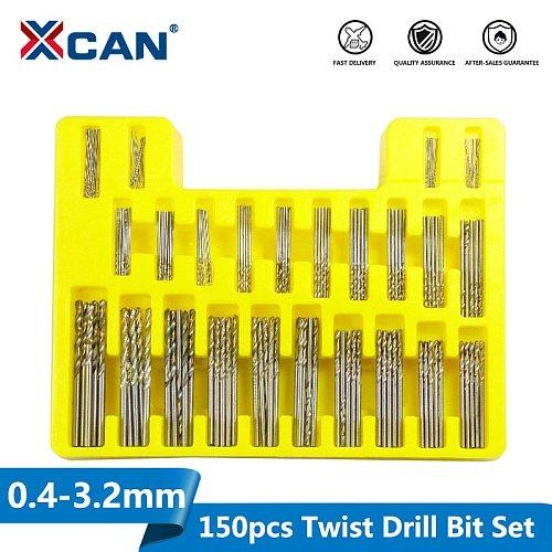 XCAN 150pcs HSS Twist Drill Bit Set 0.4-3.2mm Mini Drill for DIY Hobby Craft Woodworking Gun Drill Bit Cutter Set